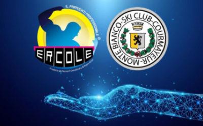 Ercole e Sci Club Courmayeur Monte Bianco durante l'inaugurazione della stagione invernale 2018/2019